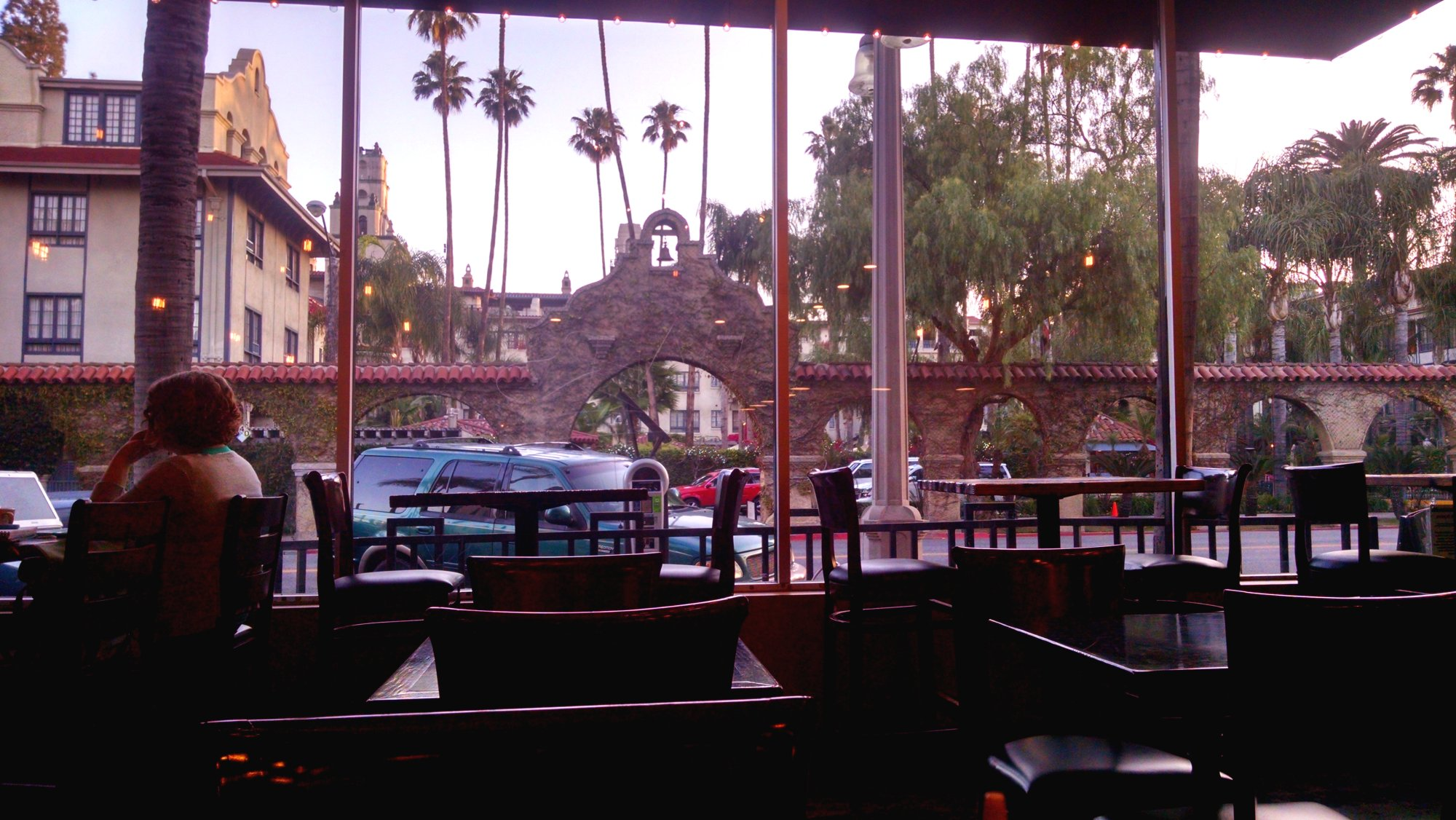 Mission Inn Hotel view from Molino's coffee in Riverside, CA